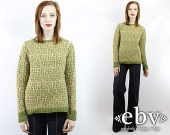 Vintage 70s Green Hand Knit Sweater S M Vintage Sweater Vintage Pullover Vintage Jumper Green Sweater