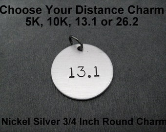 ONE (1) 5k, 10k, 13.1, 26.2 or XC Nickel Silver Pendant with Gunmetal Jump Ring Only - Add On Pendant