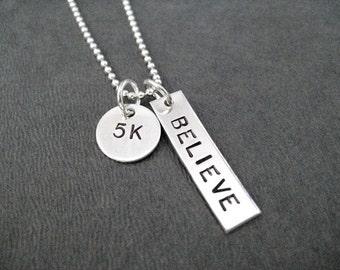 5K BELIEVE Sterling Silver Necklace - 16, 18 or 20 inch Sterling Silver Ball Chian - 5K Believe Running Jewelry - Believe in the 5K - Roads