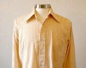 Mens 1970s Plaid Shirt / Unique Mens Shirts / Long Sleeve Button Down / Mens Hipster Shirts / Orange White