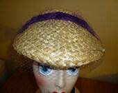 Hat Vintage Women's Straw with Purple Velvet Ribbon Bow