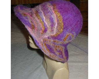 Felt Hat, Hemo Felt Hat,Felt Merino Wool Hat,Mauve Pink Hat,Felt String Hat, Felt Lady Fashion Hat,Handmade,OOAK