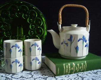 "Japanese Tea Set - Japanese Teapot - Teapot and Teacups -  ""Iris Rhapsody"" Blue Iris Teapot and Teacups - Tea Set - Made in Japan by Otigiri"