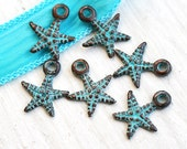 6pc Small Starfish charms, green patina, Greek metal casting beads, pendant, nautical, sea, ocean - 14mm - F023