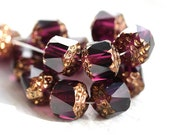 Purple beads, cathedral, czech glass, golden ends, round fire polished - 8mm - 15Pc - 1146