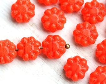 Orange Flower beads, czech glass, daisy bead, pressed beads - Coral Orange - 9mm - 20Pc - 0125