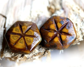 Rustic picasso beads, Star in Ochre Yellow and Brown, Czech Glass, hexagon - 17mm - 2Pc - 0456