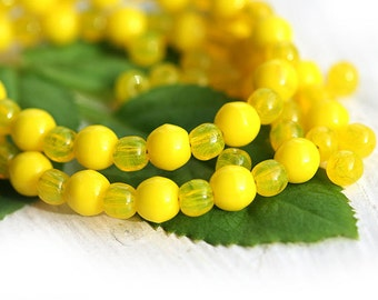 Bright Yellow beads mix, Czech glass - round spacers, druk, small - 4-3mm - approx.120Pc - 0480