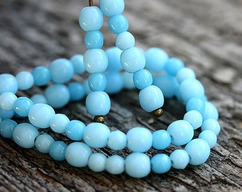 Blue beads Mix, Czech glass round spacers, druk, small - 4-3mm - approx.120Pc - 0143