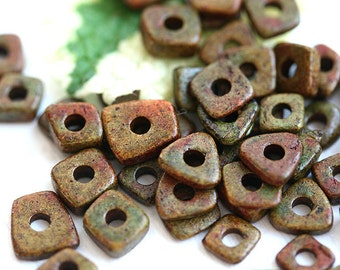 Greek ceramic chip beads, Dark Olive Green, Brown, tiny spacers, squares, triangles, 5mm - approx.70pc - 1579