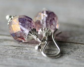 Purple Glass Earrings: Lavender Opal Czech Beads with Sterling Silver