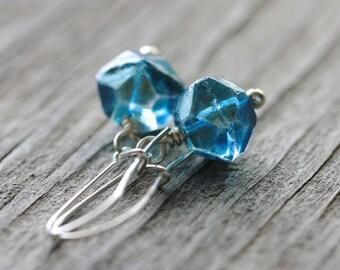 Blue Geometric Earrings: Metallic Glass Beads with Sterling Silver, Simple Minimalist Jewelry