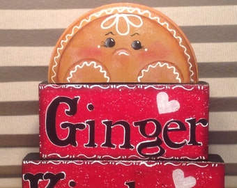Kitchen GINGER Blocks..Ginger Lover..Country Home..Shelf Sitter..Kitchen Ginger  Sill Setter Gift..Home Decor.    Mantle Decor..Shelf Sitter