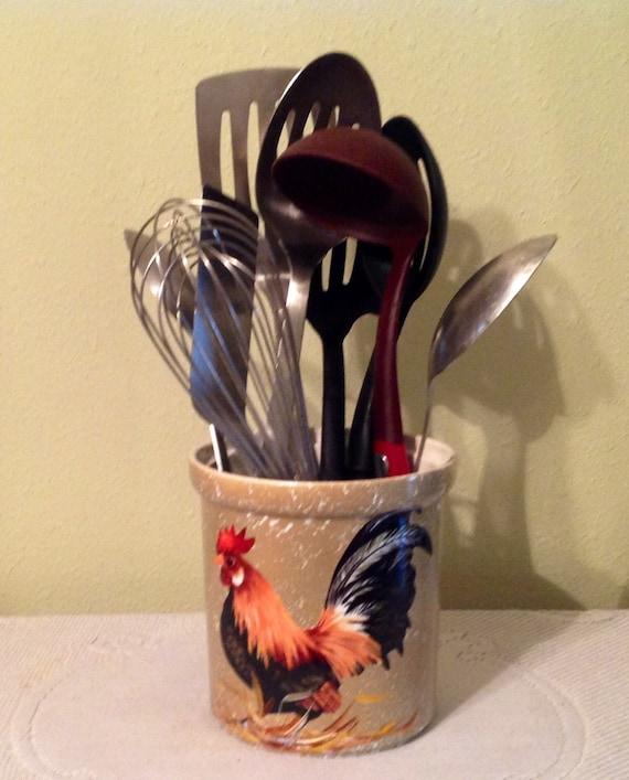 Utensil Holder.Rooster Khaki/Beige .Kitchen Decor.Country