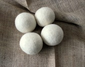 Wool Dryer balls natural wool, undyed & unscented - set of 4.  Eco friendly, natural clothes cleaning, natural laundry. Handmade w/100% wool