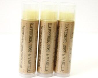 SHOP CLOSING SALE . Lavender Rose Vanilla Lip Balm . Lavender Lip Balm . Rose Lip Balm . Cocoa Butter and Beeswax . 100% Natural Lip Balm