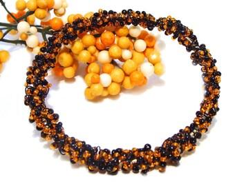 Orange and Black Wire Crocheted and Wire Wrapped Goldtone Bangle Bracelet  #orangeblackjewelry #halloweenbracelet #etsyhandmade #giftsforher