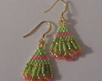Small green and pink earrings