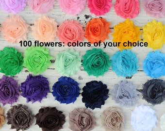 "Shabby Flowers - Chiffon Frayed Flower - Fabric Flowers - Set of 100 - You Pick Colors - Wholesale Fabric Flower Set - 2.5"" Flower - REGULAR"