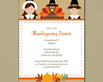 Thanksgiving Dinner/Party Invitation - Personalized DIY Printable Digital File
