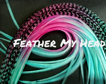 10 Feather Hair Extensions Multi Color Rainbow Ombe Tye Dye Extra Long 11-14 In (28-36cm) Premium Grade - Pixie Dust - Grizzly / Solid