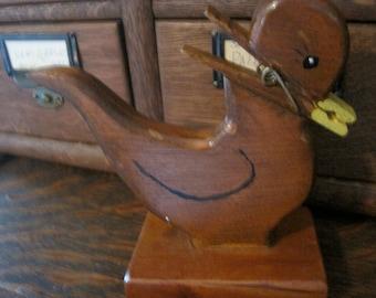 Cute Vintage Wood Duck Note Holder