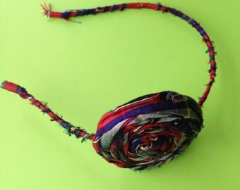 Plaid silk fabric rose hair band