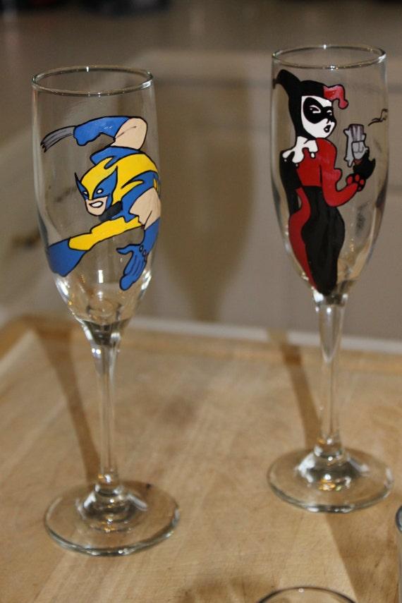 wedding toasting glasses hand painted wolverine and harley quinn ex men captain america comic wedding bride groom