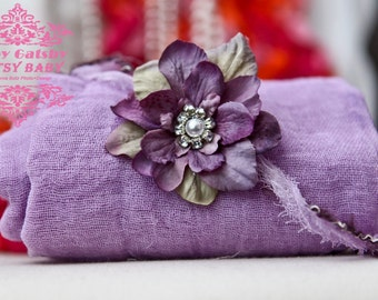 2 item baby swaddle set w lavender swaddle w multi plums headtie w crystal n pearl center perfect for photo shoots for newborns babies
