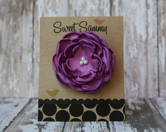30 Colors Small Satin Flower Hair Clip, Radiant Orchid Flower Hair Clip