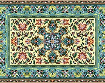 French Vintage Floral Rug Adaptation circa 1887 Counted Cross Stitch Pattern PDF Smaller Version Pattern PDF