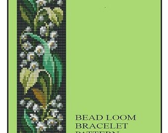 Bead Loom Bracelet Lily of the Valley Flowers Pattern PDF