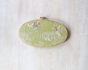 Vintage Green Floral Kids Name Sign Embroidery Hoop Nursery Art Limited Edition