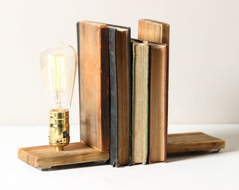 Bookends- Salvaged Wood Bookends, Rustic Lamp, Shelf Lighting, Exposed Edison Bulb