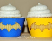 48 Batman Cupcake Wrappers - Blue, Yellow, Black (Boy, Girl, Baby Shower, Birthday Party, Super Hero Party, Superhero, Theme, Classroom)
