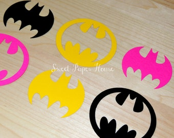 100 Batman Die Cuts - 3 Inch - Black, Hot Pink, Yellow (Cardstock, Super Hero, Superhero, Baby Shower, Batman & Robin, Batman Wedding, Girl)