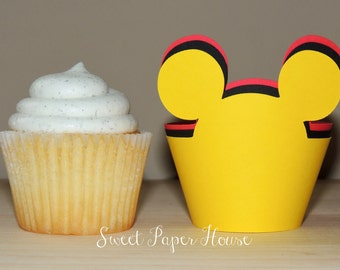 24 Mickey Mouse Cupcake Wrappers - Cardstock (Red, Black, Yellow) (Disney, Cartoon, Minnie and Mickey, Mickey Ears, Mouse Ears, Theme, Bday)