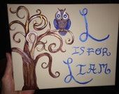 L is for Liam blue and brown Original Art Work with Swirly Tree Nursery or Kids Room