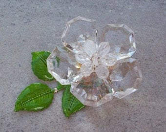 Clear Acrylic Flower Brooch with Metal Leaves  Western Germany