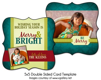 Christmas Card Template - BE MERRY - 5x5 Double Sided Card Template