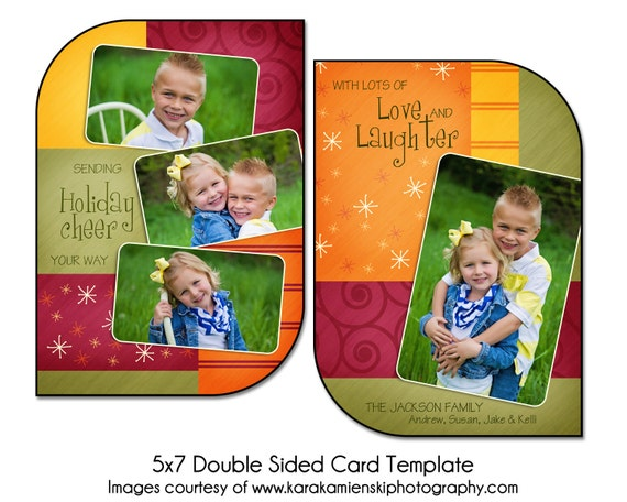 christmas card template starry cheer 5x7 double sided card. Black Bedroom Furniture Sets. Home Design Ideas