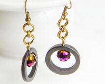 Black Hoop Earring, Purple Bead Hoops, HANDMADE Black and Purple Dangle, Gold Chain Mail, Light Weight Hoop, Purple and Gold Jewelry,