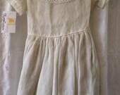 Pretty 1940's Vintage Little Girl's White Linen Dress!