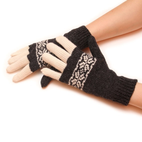 Women knitted gloves - multicolour gloves, knit gloves, mitten gloves, black gloves, fingered gloves, winter gloves, warm glove, white glove