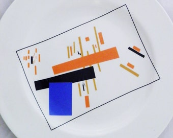 Lomonosov china: Decorative wall plate with image of Suprematist art *reproduction,* mod mid century modern look