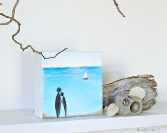 Beach Decor, Ocean Painting with 3D Sailboat--A Couple in Love, Holding Hands on the Shoreline, Beach Wedding Gift