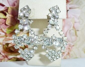 Vintage Earrings Diamond Rhinestone DANGLE/Drop/CHANDELIER Vintage ESTATE Earrings Wedding Vintage Jewelry By Vintagelady7