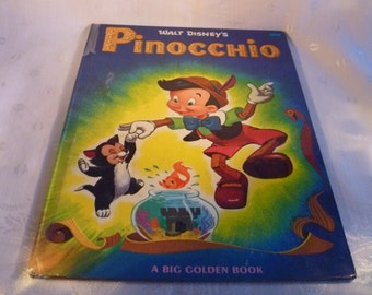 Walt Disneys Pinocchio A Big Golden Book Mid Century 1953 Illustrated