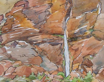 Deer Creek Falls in the Grand Canyon - Giclee Print of Southwest Waterfall Desert Sandstone Cliff Plein Air Wilderness Painting