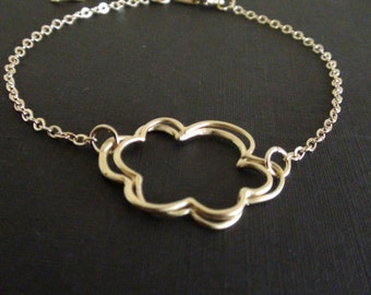 Cloud Line Art Connector-16k yellow gold plated or white gold plated bracelet